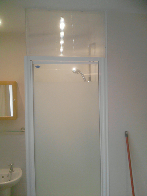 THIS CLIENT WANTED HIS SHOWER FILLED IN AT THE TOP.