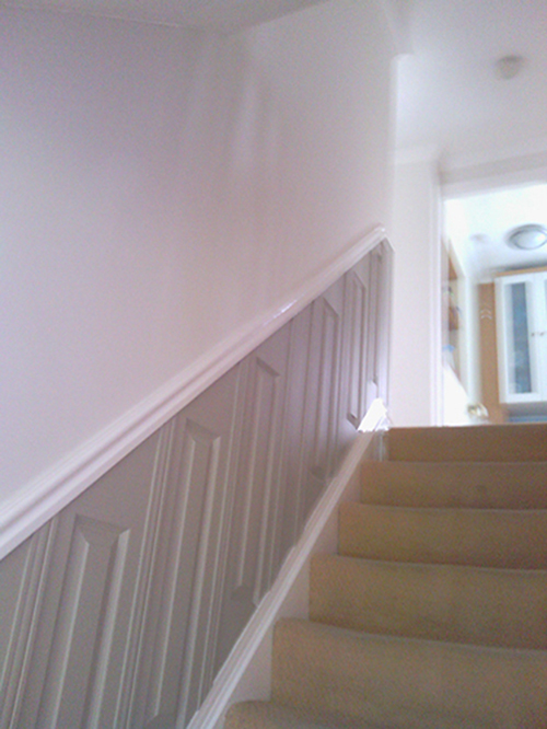 AFTER PAINTING THE CEILING AND WALLS WHITE, PAINTED THE WOOD PANELLING IN THIS LOVELY GREY COLOUR